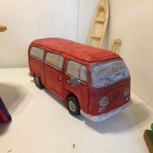 Holzauto rot, Bulli T1, Modellauto