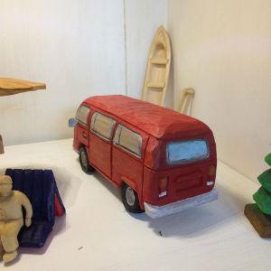 Holzauto rot, Bulli T1, Modellauto,