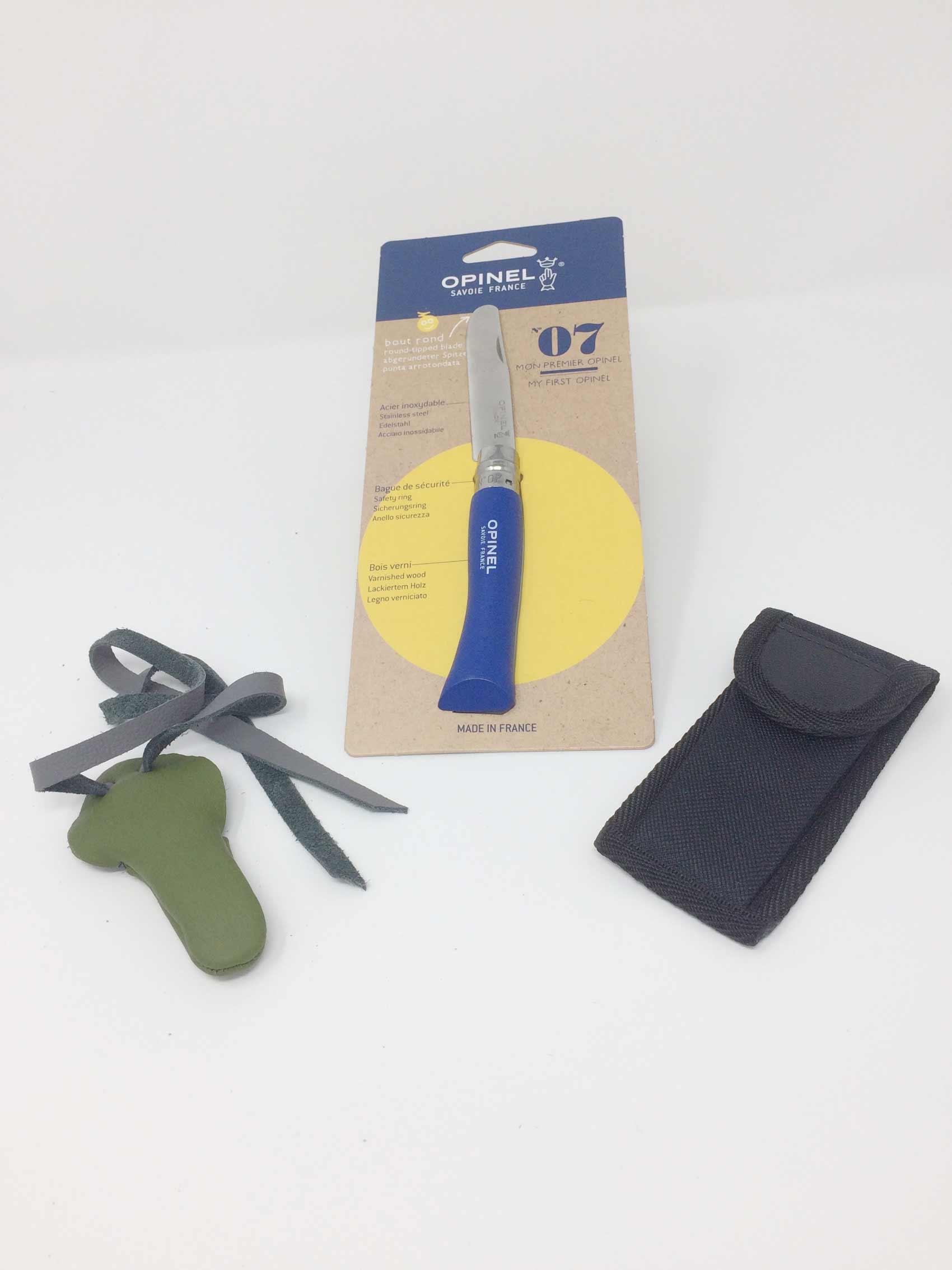 Opinel Kindermesser Nr.7 mit Däumling und Tasche, blau